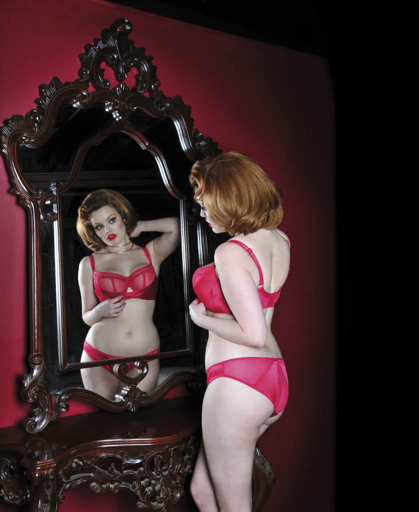 Peek A Boo Balcony Bra and Brief. Collection includes Bare-Faced Brief, Thong, and Suspender Belt. 30-38 DD-HH, S-XL.