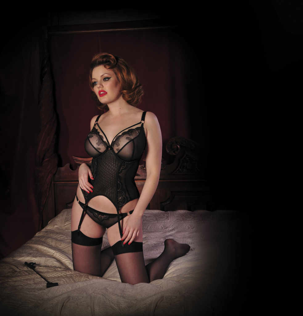 Surrender Basque and Peep-Hole Brief. Collection includes Thong and Plunge Bra. 30-38 DD-HH, S-XL