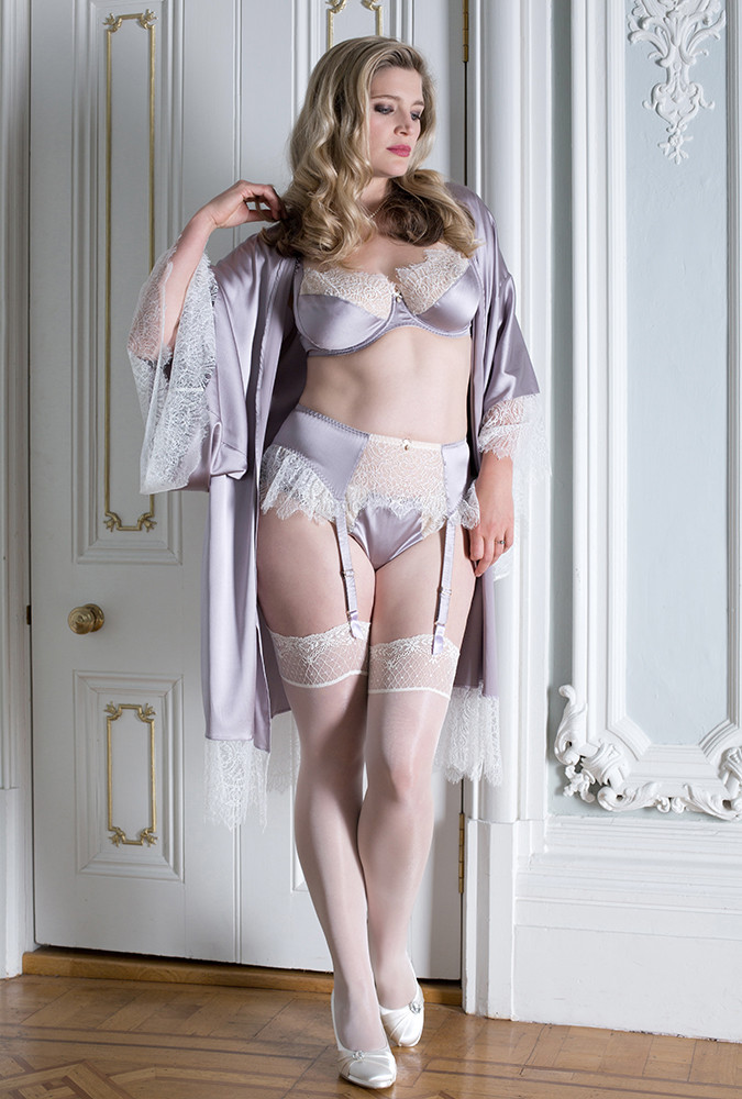 Eleanor Lilac Bra Suspender Thong And Kimono By Harlow